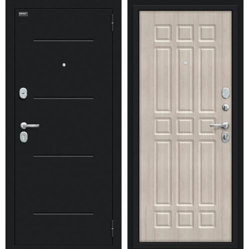 Входная дверь - Мило 104.52 Букле черное/Cappuccino Veralinga