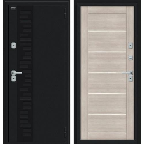 Дверь с терморазрывом Thermo Техно Декор Букле черное/Cappuccino Veralinga