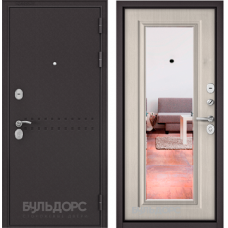 Входная дверь - MASS-90 -(МР Букле шоколад R-4 / Ларче бьянко -зеркало 9S-140)