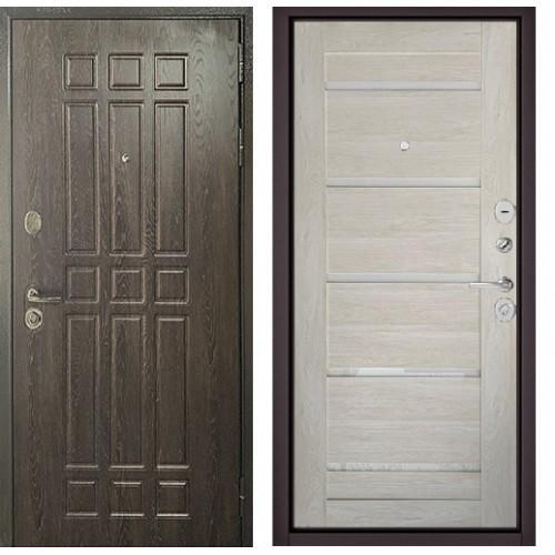 Входная дверь - Бульдорс STANDART - 90 (РР Дуб шоколад 9S-111/Дуб жемчужный GR-3 Lakobel Cristal)
