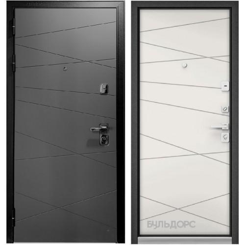 Входная дверь - Бульдорс PREMIUM 90 ГРАФИТ СОФТ 9Р-130 /Белый софт 9Р-130