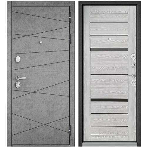 Входная дверь - STANDART 90 (PPШтукатурка серая 9S-130/Ясень ривьера Айс CR-1 )