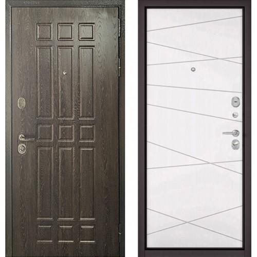 Входная дверь - STANDART - 90 (РР Дуб шоколад 9S-111/Белый софт 9S-130)