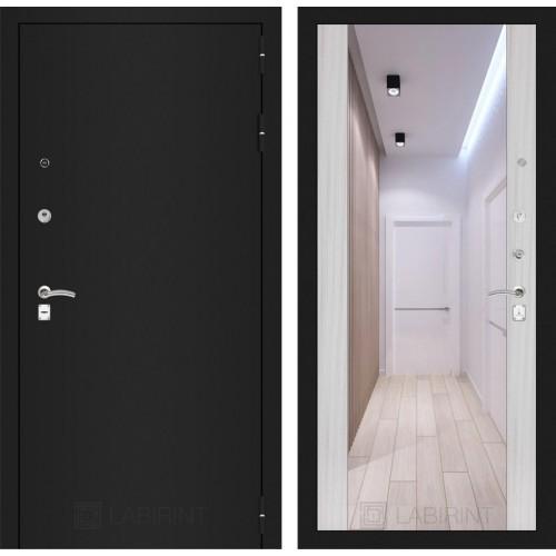 Входная дверь - CLASSIC шагрень черная с Зеркалом Максимум - Сандал белый