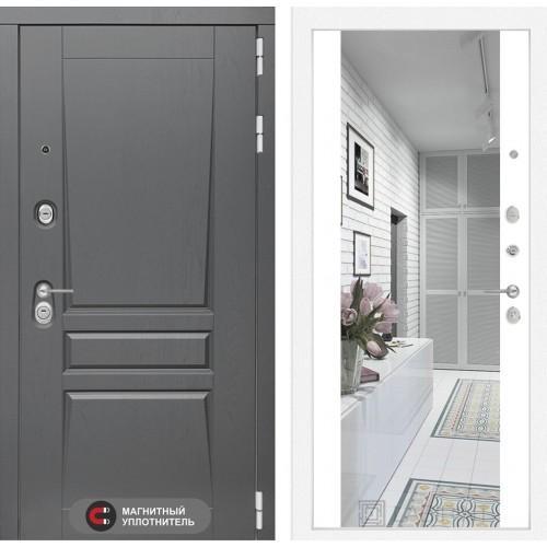Входная дверь - Платинум с Зеркалом Максимум - Белый софт