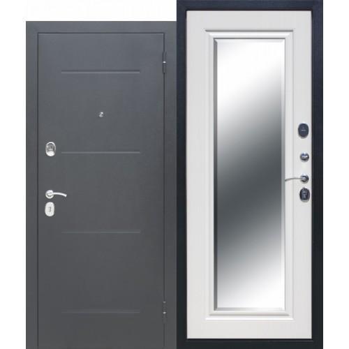 Входная дверь - 7,5 см GARDA Серебро Зеркало Фацет Белый ясень