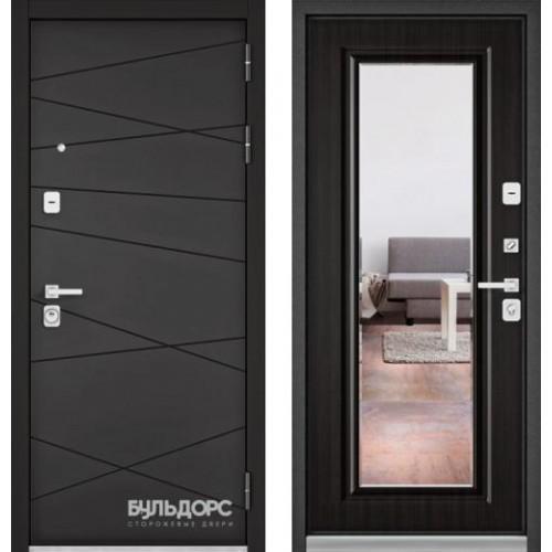"""Входная дверь - Бульдорс PREMIUM 90 Графит софт 9Р-130 с зеркалом, Цвет """"Ларче темный"""""""