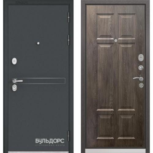 Входная дверь - Бульдорс STANDART 90 Чёрный шелк D-4/Дуб шале серебро 9S-109