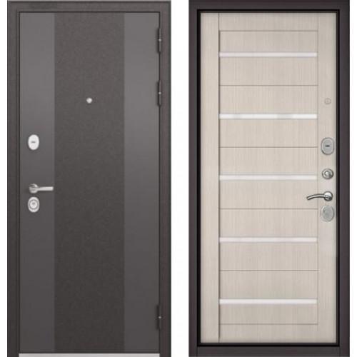 Входная дверь - STANDART 90 (МР Чёрный шелк 9К-4 /Ларче бьянко,стекло-CR-3 Lakobel White)