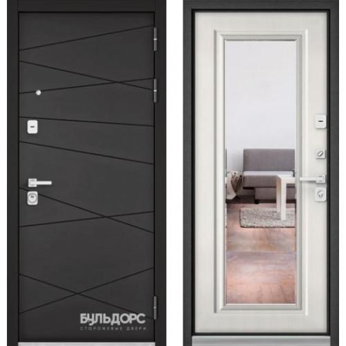 """Входная дверь - Бульдорс PREMIUM 90 Графит софт 9Р-130 с зеркалом, Цвет """"Шамбори светлый"""""""