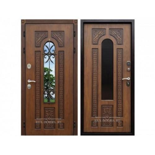 Входная дверь REX Лацио с окном и ковкой Дуб золотой / Дуб золотой