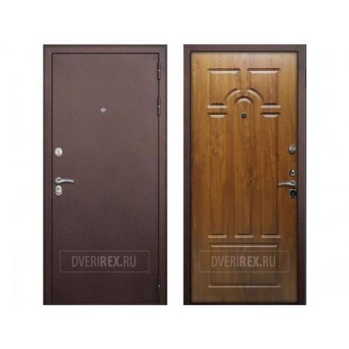 Входная дверь Rex 7 Четырёхконтурная Антик медный / Дуб золотой