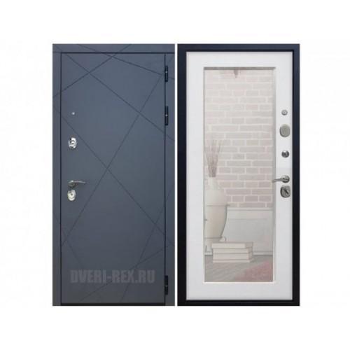 Входная дверь Rex 13 Пастораль с зеркалом (Белый ясень)