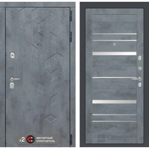 Входная дверь Бетон 20 - Бетон темный, зеркальные вставки