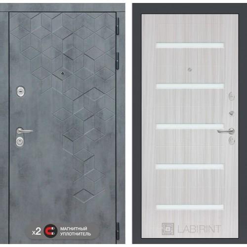 Входная дверь Бетон 01 - Сандал белый, стекло белое