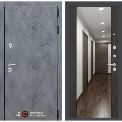 Входная дверь Бетон с зеркалом Максимум - Венге