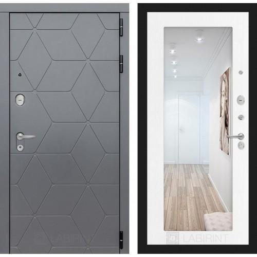 Входная дверь COSMO с зеркалом 18 - Белое дерево