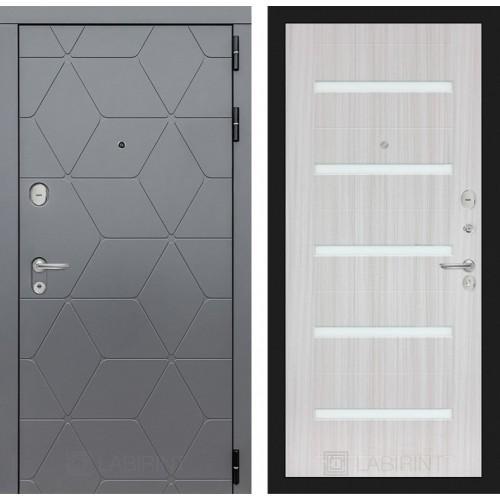 Входная дверь COSMO 01 - Сандал белый, стекло белое