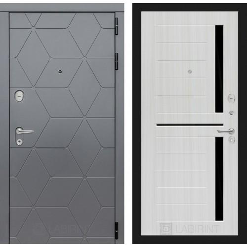 Входная дверь COSMO 02 - Сандал белый, стекло черное