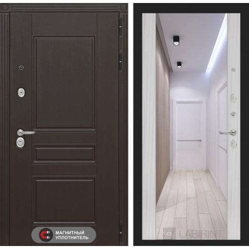 Входная дверь Мегаполис с зеркалом Максимум - Сандал белый