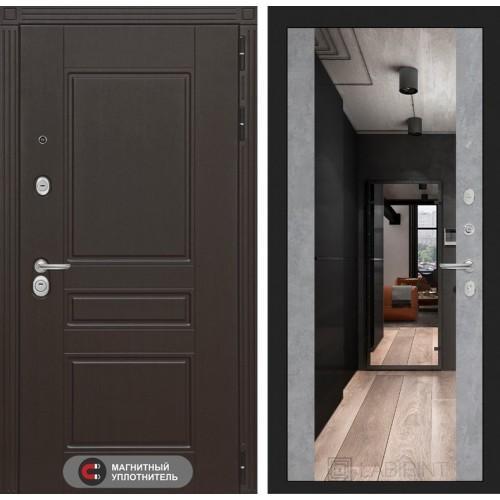 Входная дверь Мегаполис с зеркалом Максимум - Бетон светлый