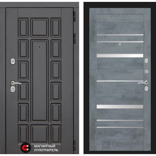 Входная дверь NEW YORK 20 - Бетон темный, зеркальные вставки