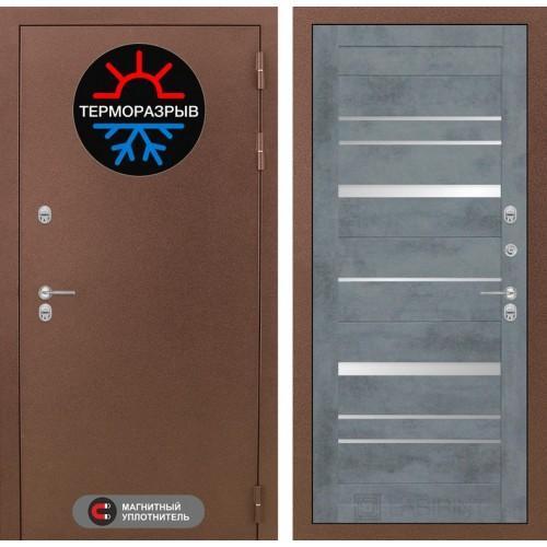 Входная дверь Термо Магнит 20 - Бетон темный, зеркальные вставки