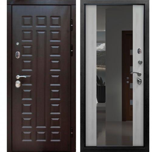 Входная дверь - S01 2К винорит венге / белая лиственница зеркало