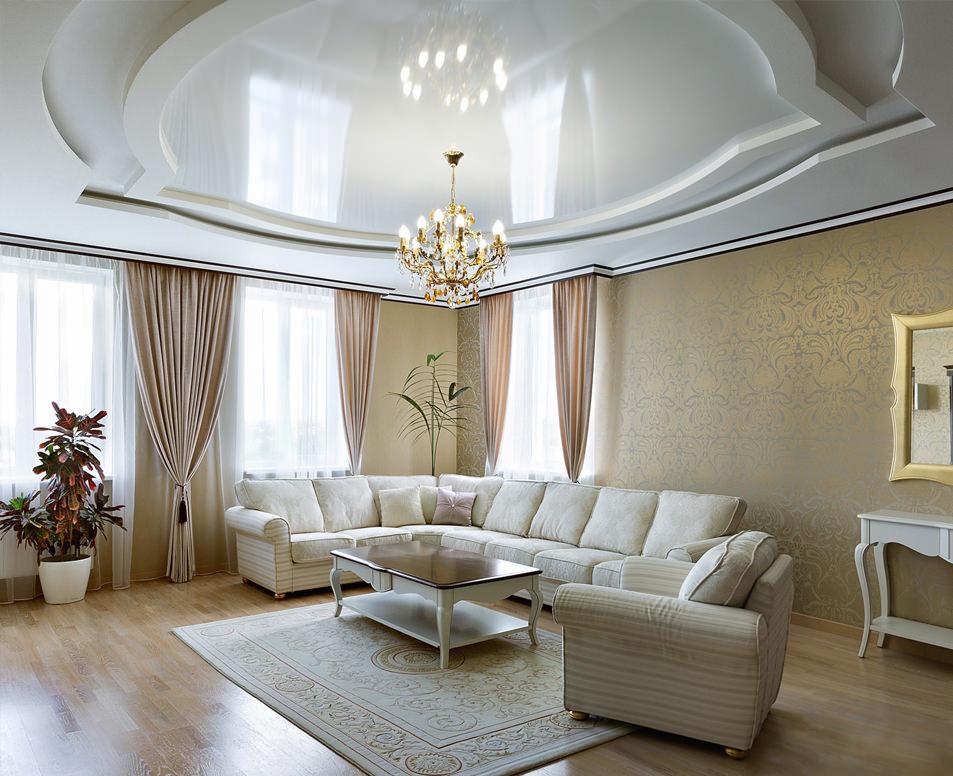 простой дизайн потолков из гипсокартона фото для зала одном них